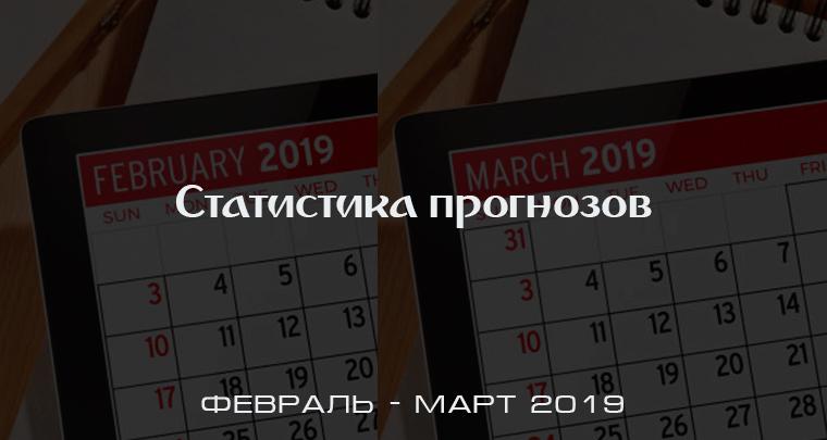 Статистика прогнозов за февраль-март 2019